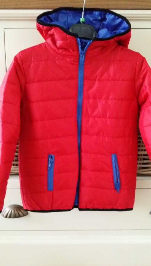 najaarsjas/winterjas rood/blauw