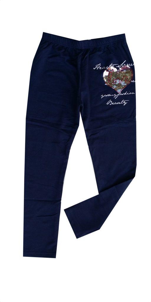 legging donkerblauw met applicatie van omkeerbare pailletten