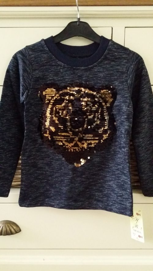 sweater met omkeerbare pailletten tijger donkerblauw