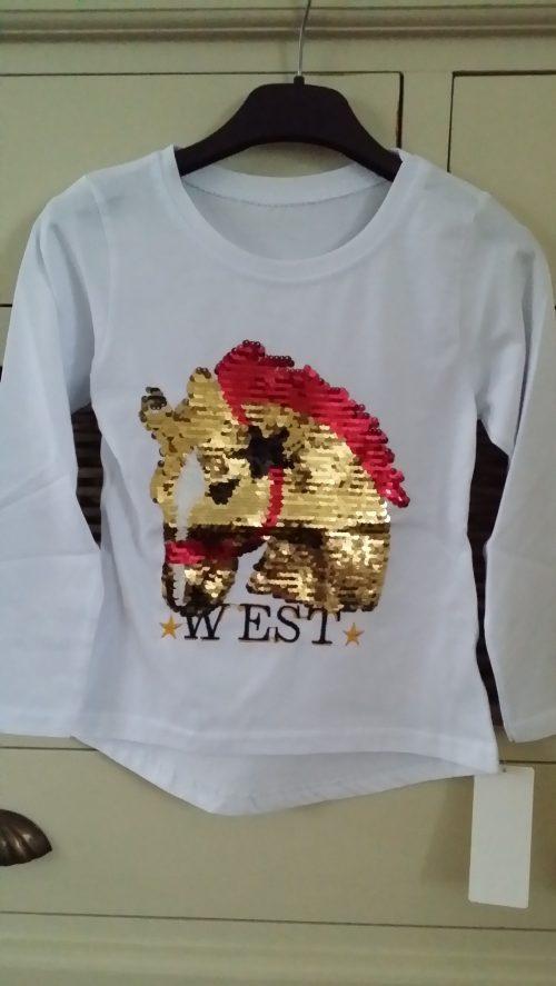 shirt pailletten paard wit