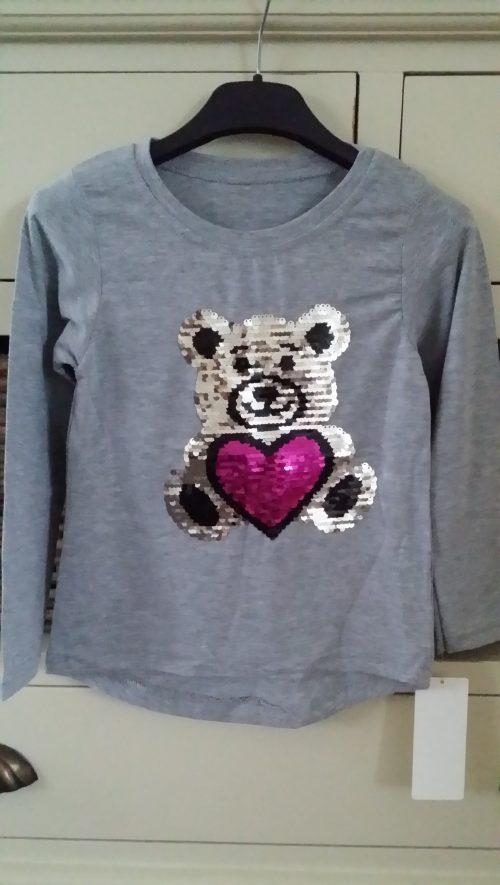 shirt beer omkeerbare pailletten grijs