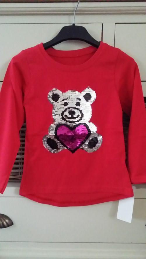 shirt omkeerbare pailletten beer rood