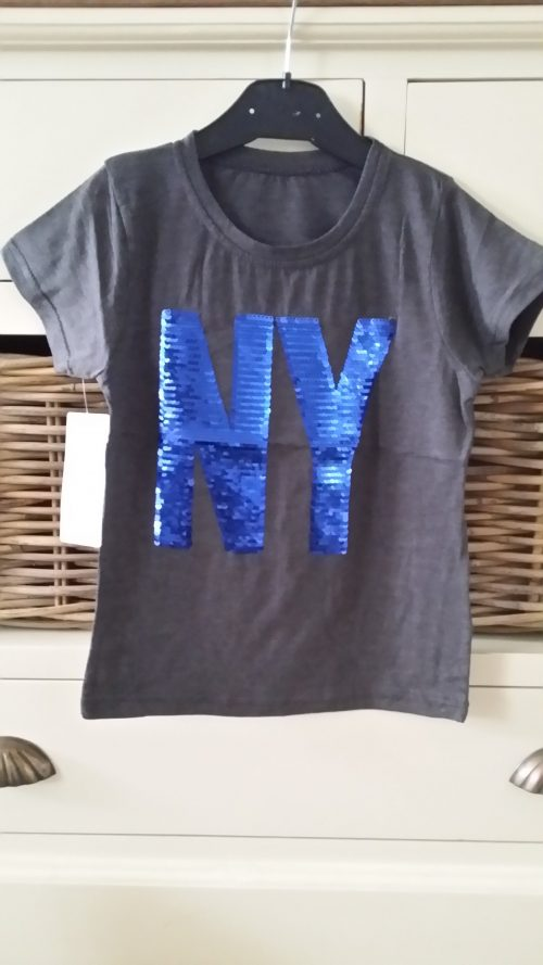 shirt donkergrijs NY omkeerbare pailletten