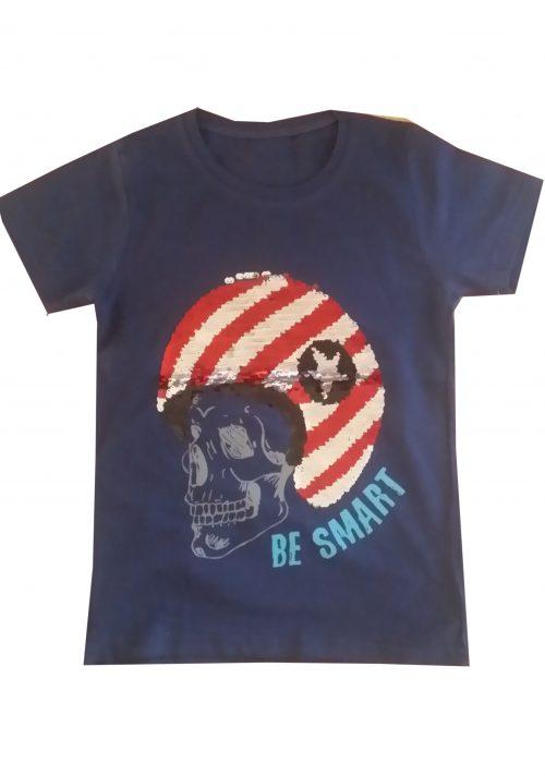 shirt omkeerbare pailletten blauw