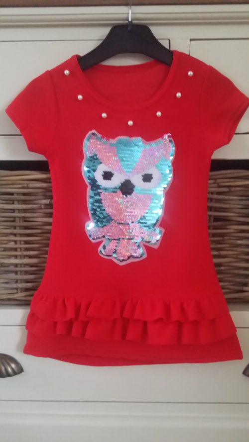 jurk uil met omkeerbare pailletten rood